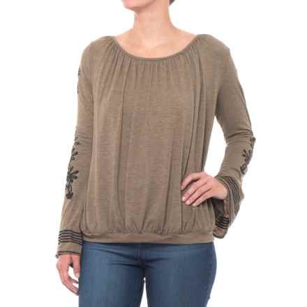 Thyme & Honey Embroidered Jersey Shirt - Long Sleeve (For Women) in Mushroom Heather - Closeouts