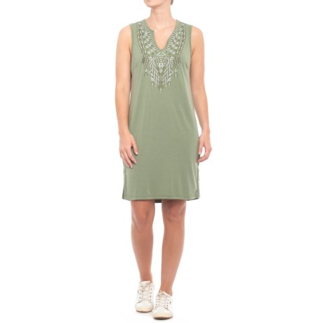 Thyme & Honey Embroidered Tank Dress (For Women) in Light Olive
