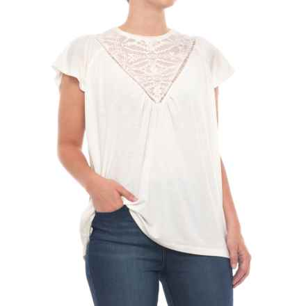 Thyme & Honey Front Lace Shirt - Short Sleeve (For Women) in Eggwhite - Closeouts