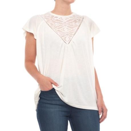 Thyme & Honey Front Lace Shirt - Short Sleeve (For Women) in Eggwhite