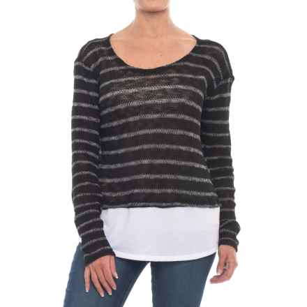 Thyme & Honey Striped Jersey Shirt - Long Sleeve (For Women) in Black/White - Closeouts