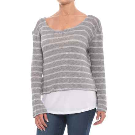 Thyme & Honey Striped Jersey Shirt - Long Sleeve (For Women) in Grey/White - Closeouts