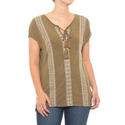 Thyme & Honey Tassel Tie Shirt - Short Sleeve (For Women) in Olive Heather - Closeouts