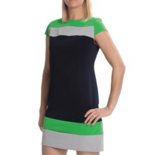 Tiana B Colorblock Ottoman Dress - Short Sleeve (For Women) in Navy/Green/Grey - Closeouts