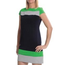 Tiana B Colorblock Ottoman Dress - Short Sleeve (For Women) in Navy/Green/Grey