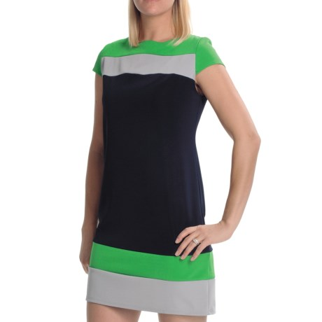 Tiana B Colorblock Ottoman Dress - Short Sleeve (For Women) in Navy/Green/Grey