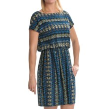 Tiana B Diamond Print Jersey Dress - Short Sleeve (For Women) in Blue/Multi - Closeouts