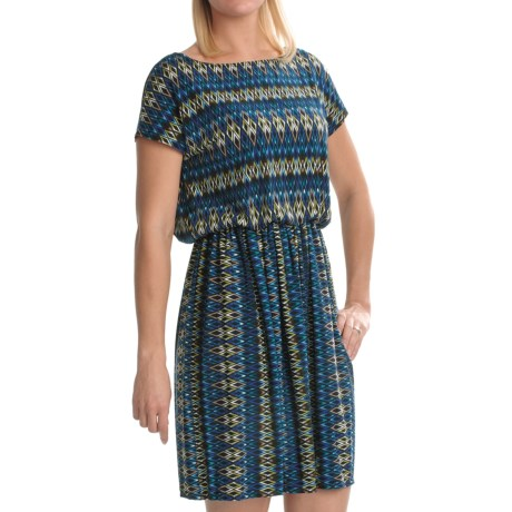 Tiana B Diamond Print Jersey Dress - Short Sleeve (For Women) in Blue/Multi