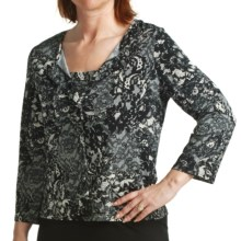 Tiana B Lace Print Cardigan Sweater (For Women) in Black/Cream - Closeouts