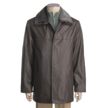 Tibor Leather Lambskin Car Coat - Removable Mouton Fur Collar and Quilted Liner (For Men) in Brown - Closeouts