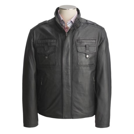 Tibor Leather Washed and Waxed Lambskin Jacket - Insulated (For Men) in Grey