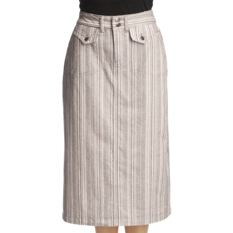 Ticking Stripe Trouser Skirt - Stretch Cotton (For Women) in Beige Stripe