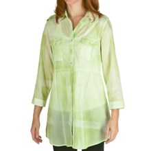Tie-Dye Cotton Plaid Tunic Shirt - 3/4 Sleeve (For Women) in Lime - 2nds