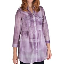 Tie-Dye Cotton Plaid Tunic Shirt - 3/4 Sleeve (For Women) in Purple - 2nds