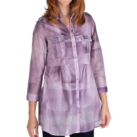 Tie-Dye Cotton Plaid Tunic Shirt - 3/4 Sleeve (For Women) in Purple