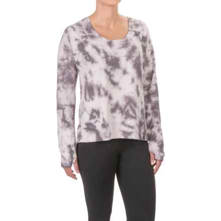 Tie-Dye French Terry High-Low Shirt - Long Sleeve (For Women) in Charcoal/Pink Tie Dye - 2nds
