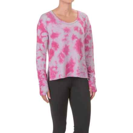 Tie-Dye French Terry High-Low Shirt - Long Sleeve (For Women) in Red/Grey Tie Dye - 2nds