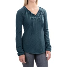 Tie-Front Shirt - Cotton-Modal, Long Sleeve (For Women) in Bluie - 2nds