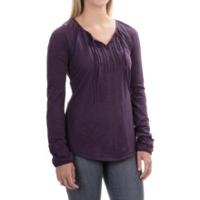 Tie-Front Shirt - Cotton-Modal, Long Sleeve (For Women) in Purple - 2nds