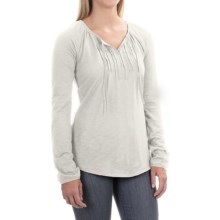 Tie-Front Shirt - Cotton-Modal, Long Sleeve (For Women) in White - 2nds