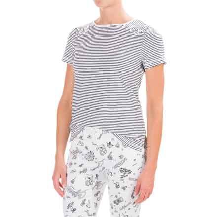 Tie-Shoulder Shirt - Short Sleeve (For Women) in White/Black Stripe - 2nds