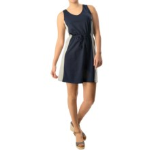 Tie-Waist Tank Dress - V-Neck, Sleeveless (For Women) in Navy - Closeouts
