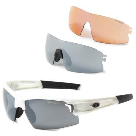 Tifosi Pro Escalate H.S. Sunglasses Kit - Extra Lenses in Pearl White/Smoke-Ac Red-Clear - Closeouts
