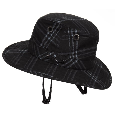 Tilley Waxed-Cotton Outback Plaid Hat - UPF 50+ (For Men) in Black