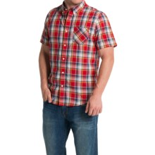 Timberland Allendale River Plaid Poplin Shirt - Short Sleeve (For Men) in Haute Red - Closeouts