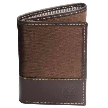 Timberland Baseline Trifold Wallet - Waxed Canvas-Leather (For Men) in Brown - Closeouts