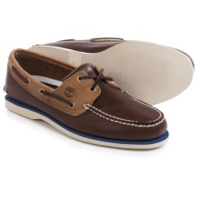 Timberland Classic 2-Eye Boat Shoes - Leather (For Men) in Dark Brown/Tan - Closeouts