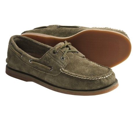 Timberland Classic 2-Eye Boat Shoes - Suede (For Men) in Olive