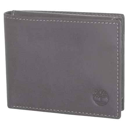 Timberland Cloudy Leather Passcase Wallet in Charcoal - Closeouts