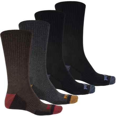 Timberland Comfort Socks - 4-Pack, Crew (For Men) in Black/Black/Brown/Grey - Closeouts