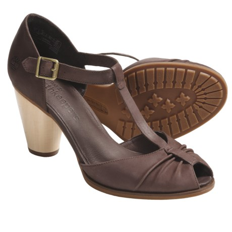 Timberland Earthkeepers Nevali Peep-Toe Sandals - T-Strap (For Women) in Dark Brown