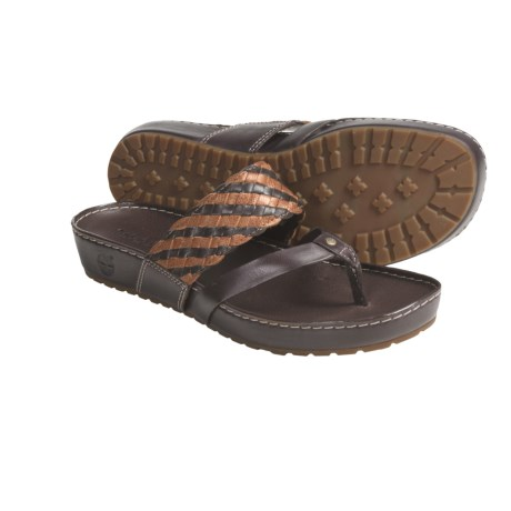 Timberland Estela Braids Thong Sandals (For Women) in Dark Brown/Adobe