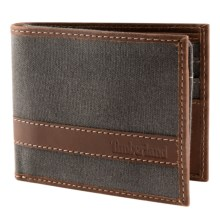 Timberland Hunter Passcase Wallet - Waxed Canvas Leather in Charcoal - Closeouts
