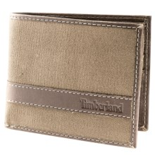 Timberland Hunter Passcase Wallet - Waxed Canvas Leather in Khaki - Closeouts