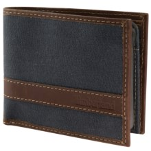 Timberland Hunter Passcase Wallet - Waxed Canvas Leather in Navy - Closeouts