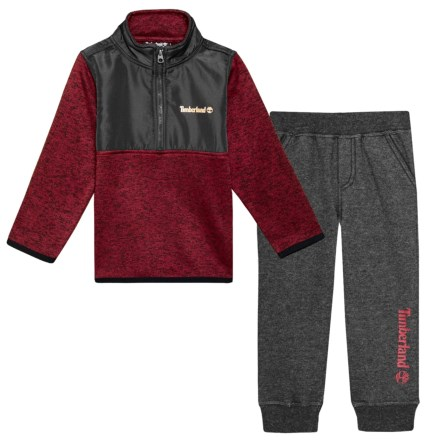 0198bd3bf9 Timberland Knit Fleece Zip Neck Jacket and Joggers Set (For Toddler Boys)  in Grey