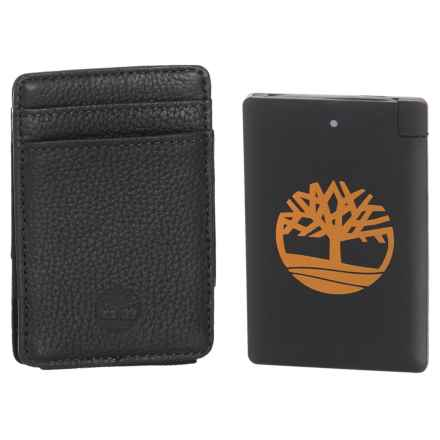 Timberland Leather Wallet with Pocket Charger Set - 2-Piece in Black - Closeouts