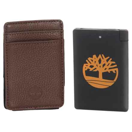 Timberland Leather Wallet with Pocket Charger Set - 2-Piece in Brown - Closeouts