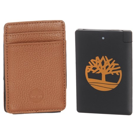Timberland Leather Wallet with Pocket Charger Set - 2-Piece in Tan