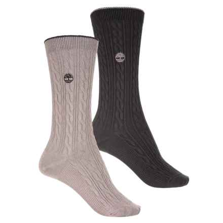 Timberland Light Gauge Cable Socks - 2-Pack, Crew (For Women) in Grey/Black - Closeouts