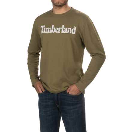Timberland Linear Logo T-Shirt - Long Sleeve (For Men) in Military Olive - Closeouts