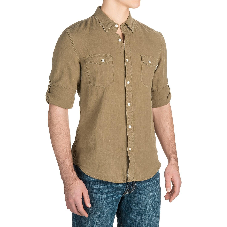 Timberland linen cargo shirt for men save 74 for Linen long sleeve shirt