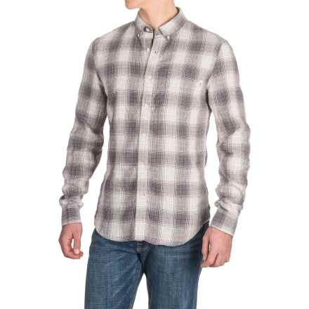 Timberland Linen Ombre-Plaid Cargo Shirt - Long Sleeve (For Men) in Ebony - Closeouts
