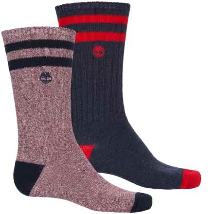 Timberland Marled Hiking Socks - 2-Pack, Crew (For Men) in Navy/Haute Red - Closeouts