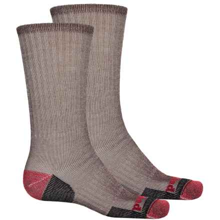 Timberland Merino Wool Blend Hiking Socks - 2-Pack, Crew (For Men) in 200 Bark - Closeouts