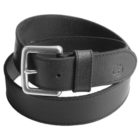 Timberland Milled Leather Belt (For Men) in Black